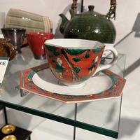 九谷焼 木米風 赤ダミ コーヒー碗皿