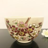 京焼 抹茶碗 金彩花桜 香菊