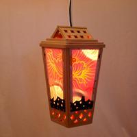 牡丹と組子の吊り灯篭