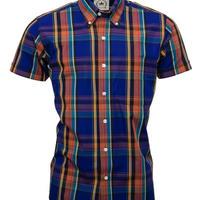 RELCO S/S チェック ボタンダウンシャツ〈パープル〉