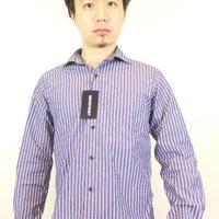 ネバートラストストライプホリゾンタルカラー長袖BDシャツ