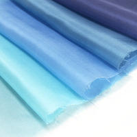 染正絹羽二重6匁 青の色彩 5色セット約20cm×約22cm (5色×各1枚)