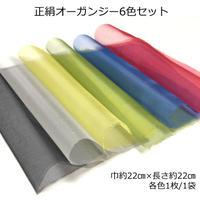 正絹オーガンジー 6色セット 巾約22cm×長さ約22cm