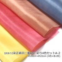 【訳あり品】 染羽二重6匁 彩り4色セットA-2 約20cm×約22cm (4色×各1枚)