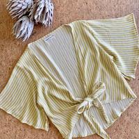 Crinkle Tie Top / Mimosa Stripe