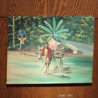 ジャマイカ ペイント 田舎 ロバ サトウキビ A.STEPHENSON(ジャマイカ絵画)