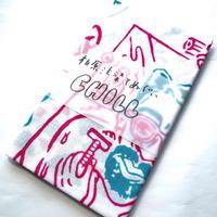 注染てぬぐいCHILL『ゲットオンザバス  ピンク×エメラルド design by 伊達努』MADE IN JAPAN