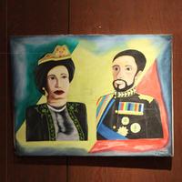 ジャマイカ ペイント ハイレセラシ&クイーン(ジャマイカ絵画)