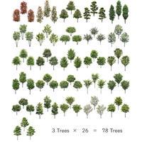 3本樹木(アイレベル) 26種類78本セット tree_26set