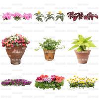 花の切り抜き素材 9個セット 寄せ植え F_004