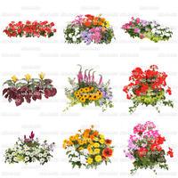 花の切り抜き素材 9個セット 寄せ植え F_002