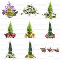 花の切り抜き素材 9個セット 寄せ植え F_003