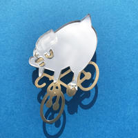 Reflector brooch Down hill bird -Silver & Gold-