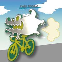 怪獣・ワニブローチon自転車 リフレクターブローチ