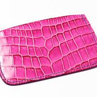SAIC(Portabiglietto Slim カードケース ④) クロコダイル<ピンク>×ゴート<ネイビー>
