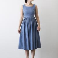 mama dress(ブルー綿麻素材)