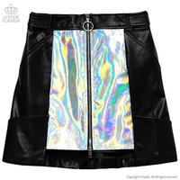 LISTEN FLAVOR ホログラフィックレザー台形スカート