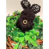 MAMEDENQ モコモコノコ ラビット帽(ブラック×星柄)×ブラック