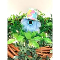 MAMEDENQ モコモコノコ テディベア柄(ブルー)HAT×レインボーD