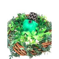 MAMEDENQ モコモコノコ ジグザグ柄(ブラック)HAT×ライトグリーン