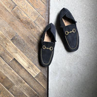 【U-112-1812】EMBROIDERY LOAFER (BLACK SOLE / SUEDE BLACK / GOLD EMBROIDERY)