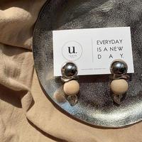 silver metal  wood ball pierce・earring