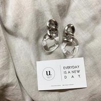 silver clear chain pierce・earring