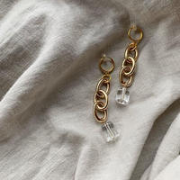 gold chain clear pierce・earring