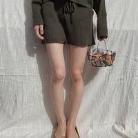 lib knit set up short pants/ moss green