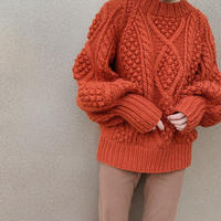 calme × Miske w name hand cable pullover knit /orange