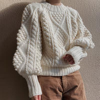 calme × Miske w name hand cable pullover knit / white