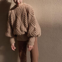 calme × Miske w name hand cable pullover knit /pink beige
