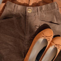 corduroy short pants/dark brown