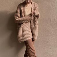 calme × Miske w name hand knit cardigan / pink beige