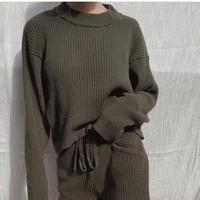 lib knit set up tops/ moss green