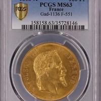 1868A  PCGS MS63 G100 Francs gold coin フランス ナポレオン3世 月桂樹 有冠 100フラン金貨 ゴールド アンティークコイン
