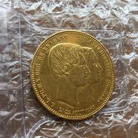 1853 ベルギー レオポルド1世 成婚記念 100フラン金貨