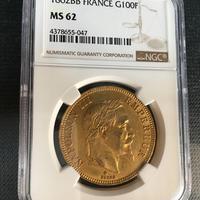 【ストラスブール鋳造】1862BB NGC MS62 G100 Francs gold coin フランス ナポレオン3世 100フラン金貨 ゴールド