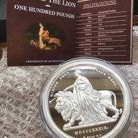 【重量1kg】ウナとライオン コイン 銀貨 100ポンド 1キログラム 2019 イギリス領オルダニー 英国 エリザベス シルバー Una Lion Alderney