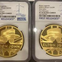 ※360万円以上でご相談下さい 【NGC70UC First Releases】エルトン・ジョン 2オンス金貨 200ポンド プルーフコイン ゴールド 2020年 英国 ロイヤルミント