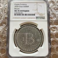 【NGC鑑定・MS70】ビットコイン モチーフ チャド共和国 CFAフラン アンティーク版 1オンス銀貨 クリプトコイン 仮想通貨 暗号通貨 Chad Crypto Coins Bitcoin