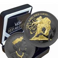 【発行枚数50枚】ウナとライオン 2021 24金 ゴールドブラックエンパイア版 銀貨 シルバーコイン Una Lion Gold Black Empire  silver coin