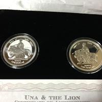 【500組限定】2枚セット ウナとライオン 2019 銀貨 コイン reverse coin リバース プルーフ
