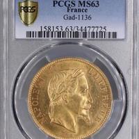 1862A PCGS MS63 G100 Francs gold coin フランス ナポレオン3世 月桂樹 有冠 100フラン金貨 ゴールド アンティークコイン