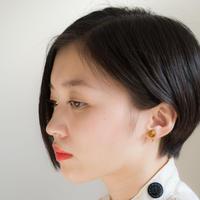 Maru Earring BROWN マルイヤリング ブラウン