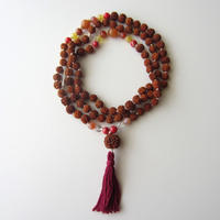 【UN0051】108 Rudraksha Mala(Kaolinite /Aventurine / Yellow Opal / Fire Agate / Crystal)