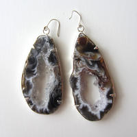 【UE104】 Drusy Agate Earring (Black) Silver(ドゥルージー・アゲートピアス(ブラック)