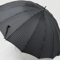 A9480 16本骨高級紳士傘 USED超美品 モダンストライプ 大判65cm 中古