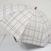 サンバリア100 完全遮光折日傘 USED超美品 2段 格子柄 折りたたみ傘 モカ 50cm  中古 ブランド FS6317