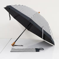 サンバリア100 完全遮光折日傘 USED美品 2段折 白黒ストライプ UV FS6928